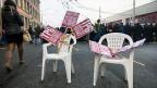 Blockade-Aktion der Genfer Streikenden im Tram- und Busdepot.