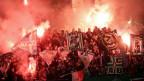 Rapid-Fans am Mittwoch, 29. Oktober 2014, während der ÖFB-Cup Achtelfinale-Begegnung zwischen SK Rapid Wien und SK Puntigamer Sturm Graz in Wien.