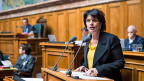 Bundesrätin Doris Leuthard an der Debatte zur Atomaussteigs-Initiative der Grünen, am 9. Dezember 2014.