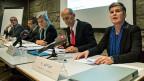 Verantwortliche von vier Bundesämtern bei der Medienkonferenz zur nationalen Strategie Antibiotikaresistenzen.