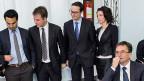 Das Thema Arbeitsmarkt ist längst bei den bürgerlichen Parteien angekommen. Bild: Die FDP-Kandidaten für die Tessiner Staatsratswahlen vom 19. April.