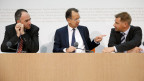 Die Parteipräsidenten: Christophe Darbellay, CVP; Philipp Müller, FDP und Toni Brunner, SVP (von links).