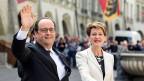 Frankreichs Präsident François Hollande  und Bundespräsidentin Simonetta Sommaruga in Bern. Es ist der erste Staatsbesuch eines französischen Staatschefs seit 1998.