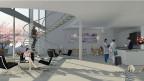 Visualisierung der Réception im neuen Spital-Hotel von Lausanne.