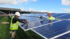Polnische Arbeiter montieren 23'000 Solarzellen, welche aus China importiert sind.