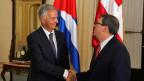 Der Schweizer Aussenminister Didier Burkhalter, trifft Kubas Aussenminister Bruno Rodriguez in Havanna.  Burkhalter besucht Kuba, anlässlich der Wiedereröffnung der US-Botschaft in Havanna.