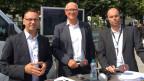 Andreas Osner, Bürgermeister von Konstanz; Andreas Netzle, Stadtammann von Kreuzlingen und Simon Leu, Gesprächsleiter von SRF (von links).