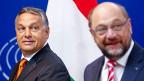 Ungarns rechtsnationaler Premier Orban hat bei seinem Besuch in Brüssel kein Blatt vor den Mund genommen. Bild: Orban und EU-Parlamentspräsident Martin Schulz.