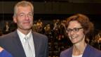 Heinz Karrer, Präsident, Economiesuisse, (links) und Monika Rühl, Direktorin Economiesuisse, am Tag der Wirtschaft in Luzern am 4.9.2015.