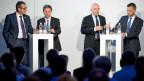 Vier von sieben Kandidaten: Ruedi Noser, FDP, und Martin Bäumle, GLP; Daniel Jositsch, SP und Hans-Ueli Vogt.