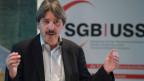 Paul Rechsteiner, Präsident Schweizerischer Gewerkschaftsbund (SGB) fordert den besseren Schutz von Arbeitsplätzen, Löhnen und die Erhaltung der Bilateralen am 6. November 2015 in Bern.