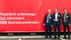 Oltens Stadtpräsident Martin Wey, SBB-Chef Andreas Meyer und der Solothurner Regierungsrat Roland Fürst bei der Einweihung in Olten.