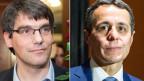 Nationalrat Roger Nordmann (l.), neuer Fraktionspräsident der SP und Ignazio Cassis, neuer Fraktionspräsident der FDP.