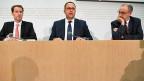 Die Bundesratskandidaten der SVP: Thomas Aeschi, Norman Gobbi und Guy Parmelin. Sie haben sich den Fragen von vier Bundeshaus-Fraktionen gestellt.