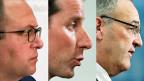 Profil zeigen - ein letztes Mal vor der Wahl sind die drei Kandidaten der SVP zum Hearing angetrabt: Norman Gobbi, Thomas Aeschi und Guy Parmelin.