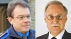 Jürg Noth, Chef des Grenzwachtkorps, und Hanspeter Hefti, stellvertretender Direktor der Eidgenössischen Zollverwaltung. Portraitbilder.