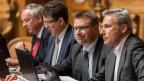 Die SVP Spitzenvertreter von rechts: Adrian Amstutz, BE, Toni Brunner, SG, Albert Rösti, BE und Jean-Francois Rime, FR.