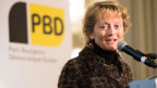 Alt Bundesrätin Eveline Widmer-Schlumpf an der Delegiertenversammlung der BDP Schweiz am 9. April 2016, in Flims.