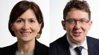 Die Präsidentin der Grünen Schweiz Regula Rytz und Albert Rösti, der Präsident der SVP diskutieren über die Atomausstiegs-Initiative über die am 27. November 2016 abgestimmt wird.