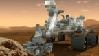Modell eines Mars-Rovers. Das ferngesteuerte Fahrzeug soll auf dem Planen Mars zu Forschungszwecken eingesetzt werden.