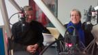 Nick Lüthi und Bettina Büsser im Studio von Radio SRF1.