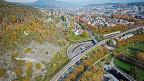Luftaufnahme des Bieler A5-Westast-Projekts. Die Autobahn führt direkt durch ein Naturschutzgebiet. Visualisierung.