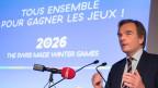 Jean-Philippe Rochat, Vize-Präsident von Swiss-Ski, präsentiert die Kandidatur der Westschweiz für die Olympischen Winterspiele 2016.