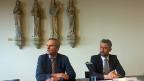 UPD-Direktor Werner Strik und Thomas Freytag Chef des Berner Amtes für Justizvollzug an der Medienkonferenz.