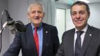 SP-Ständerat Hans Stöckli (l.) und FDP-Nationalrat Ignazio Cassis im Radiostudio Bern.