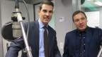 FDP-Nationalrat Thierry Burkart (l.) und SVP-Nationalrat Lukas Reimann nach der Diskussion im Radiostudio Bern.