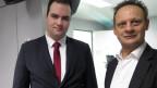Andreas Gerber von der JSVP (links) und CVP-Ständerat Stefan Engler diskutierten im Studio Bern über die Radio- und Fernsehgebühren.