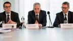 Bundesanwalt Michael Lauber und seine zwei Stellvertreter an der Jahres-Medienkonfernz.