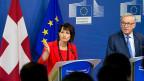 Das Ende der Eiszeit scheint gekommen. Nach einer mehrjährigen Blockade verhandelt die EU wieder mit der Schweiz. Bild: Bundespräsidentin Leuthard und EU-Kommissionspräsident Juncker in Brüssel.
