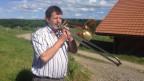 Fritz Glauser mit seiner Bassposaune.