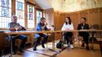 Die ehemaligen Heimkinder Sepp Klarer und Ernst Koller, die Historikerin Mirjam Janett, und Historiker Urs Hafner, von links, an einer Medienkonferenz über das ehemalige Kinderheim Steig, am Montag, 3. Juli 2017, in Appenzell.