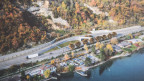 Eine Visualisierung zeigt die Ausfahrt Umfahrung Vingelz, an der öffentlichen Planauflage des Ausführungsprojekts A5-Westumfahrung Biel.