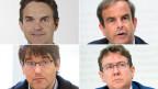 Der interimistische Fraktionschef der FDP Beat Walti, CVP-Präsident Gerhard Pfister, SP-Fraktionspräsident Roger Nordmann, SVP-Präsident Albert Rösti (im Uhrzeigersinn).