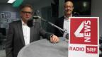 Der Urner CVP-Ständerat Isidor Baumann und der Luzerner Grünen-Nationalrat Louis Schelbert diskutieren im SRF-Studio über die Hornkuh-Initiative.
