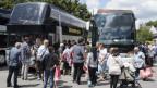 Auf dem Bild zu sehen sind Reisende die vor einem Fernbus stehen und mit Gepäck auf dessen Abfahrt warten.