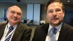 Klaus-Dieter Borchardt, Direktor des Bereichs Energiebinnenmarkt bei der Europäischen Kommission in Brüssel (links) und Michael Wider, Präsident des Branchenverbands der Schweizer Elektrizitätsunternehmen und stellvertretender Konzernchef von Alpiq.