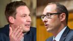 Der Initiativbefürworter Lukas Reimann, SVP (li.) und der -gegner Martin Candinas, CVP.