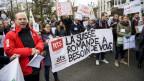 Mitglieder der ATS-SDA am dritten Streiktag in Lausanne.