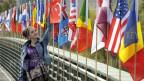 Symbolbild. Diverse internationale Fahnen.