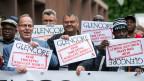 Demonstrantion anlässlicher der Glencore-Generalversammlung in Zug am 2.5.2018.