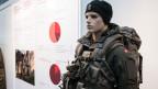 Eine Puppe trägt die neue Ausrüstung zu, anlässlich der Präsentation der Armeebotschaft 2018.