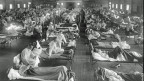 Grippe-Patienten in einem Notfallspital in der Nähe von Fort Riley, Kansas, USA, 1918.