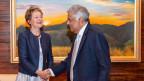 Die Bundesrätin Simonetta Sommaruga und Ranil Wickremesinghe, Ministerpräsident von Sri Lanka.