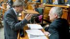 Paul Rechsteiner (SP/SG) und Bundesrat Johann Schneider-Ammann. Archivbild vom 20. September 2011 im Nationalrat.