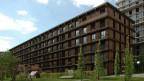 Die Zürcher Wohnsiedlung Freilager des Berner Architekten Rolf Mühlethaler, ein Beispiel für den modernen Holzbau in der Schweiz.