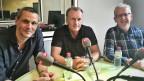 Flurin Clalüna von der «NZZ», Felix Bingesser vom «Blick» und Peter Schnyder von «SRF» (von links).